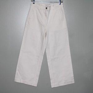everlane women white wide leg pant SZ 10